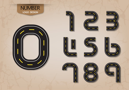 An abstract number set of logo style road nature vector illustration