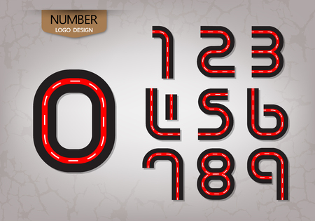 abstract number set of logo red road style nature vector illustration