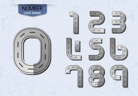 abstract number set of logo road style vector illustration