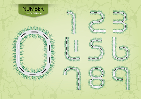 abstract number set of logo road style grass nature vector illustration Vettoriali