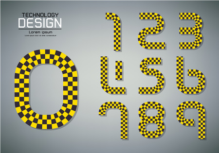 Number set of numbers Logo or icon, checkered flag concept, vector illustration Çizim