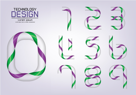 Number set of numbers or icon, ribbon concept, vector illustration Çizim