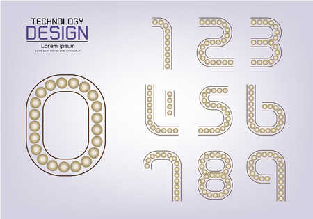Number set of numbers Logo or icon, lamp concept, vector illustration