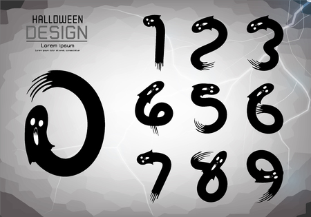 Number set of numbers Logo or icon, halloween concept, vector illustration