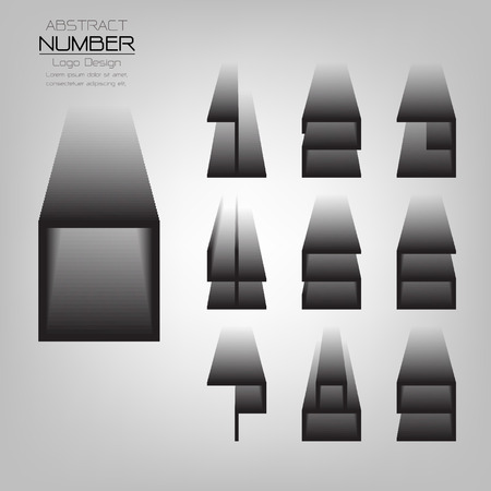 abstract set of number three dimensional gradient shadow, template vector illustration