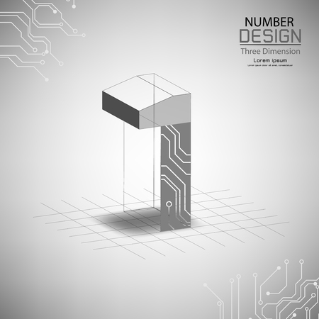 abstract number one three dimensional surface, template vector illustration Vettoriali