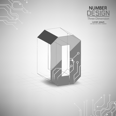 abstract number zero three dimensional surface, template vector illustration