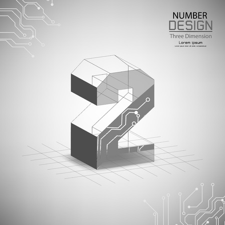 abstract number two three dimensional surface, template vector illustration
