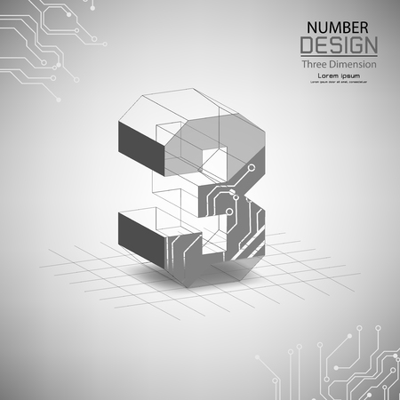 abstract number three, three dimensional surface, template vector illustration