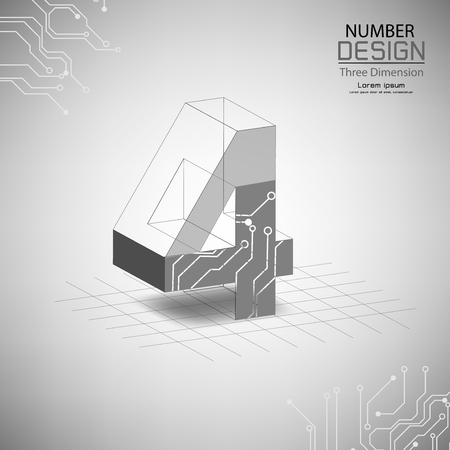 abstract number four, three dimensional surface, template vector illustration