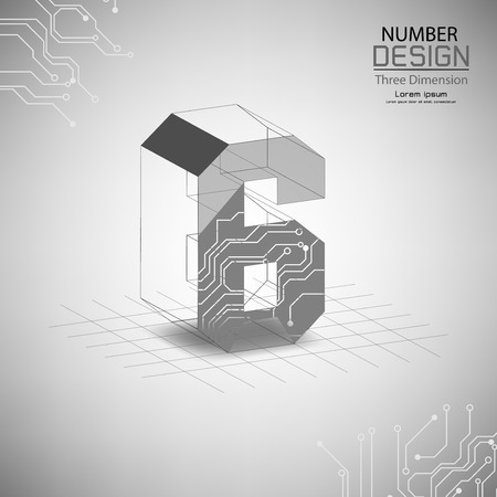 abstract number six, three dimensional surface, template vector illustration