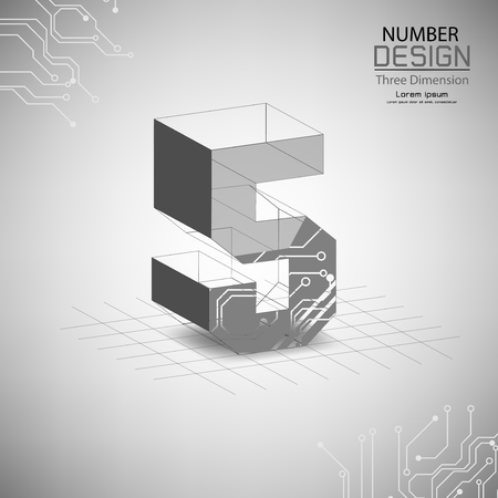abstract number five, three dimensional surface, template vector illustration