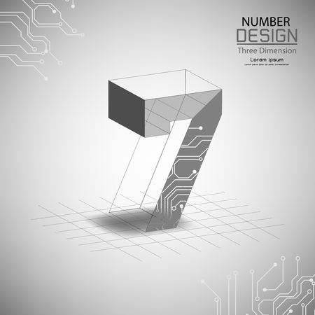 abstract number seven, three dimensional surface, template vector illustration