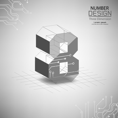 abstract number eight, three dimensional surface, template vector illustration Vettoriali