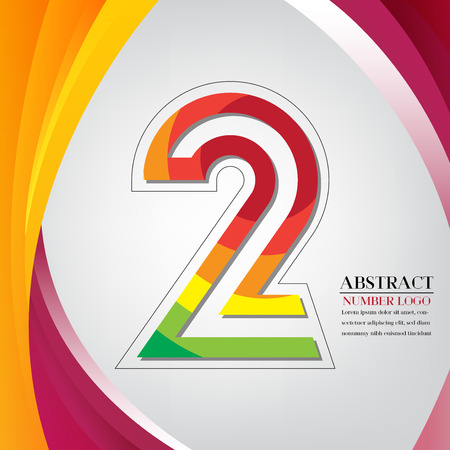 abstract number two rainbow style, arc colorful background vector illustration Vettoriali