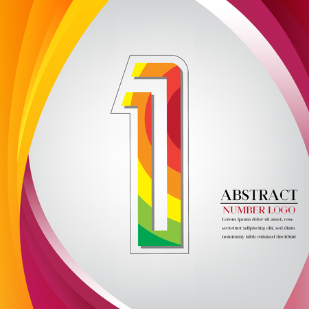 abstract number one rainbow style, arc colorful background vector illustration