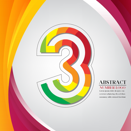 abstract number three rainbow style, arc colorful background vector illustration