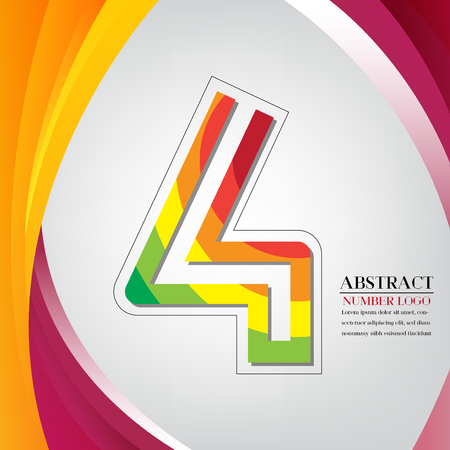 abstract number four rainbow style, arc colorful background vector illustration Vettoriali