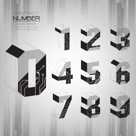 Abstract number set design Three dimensional Modern style Can be used as other illustrations such as technology, communication, business, education, vector illustrator Vettoriali