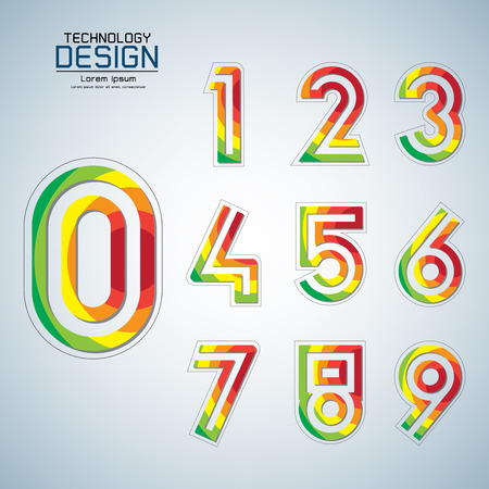 Abstract number set design colourful Modern style Can be used as other illustrations such as technology, communication, business, education, vector illustrator Vettoriali