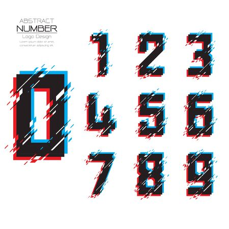 Modern glitch set of number template, abstract distortion of character with broken pixels and noise, Vector illustration Vettoriali
