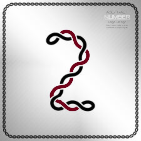 Modern number two template, design the rope to be a alphabet, Vector illustration Vettoriali