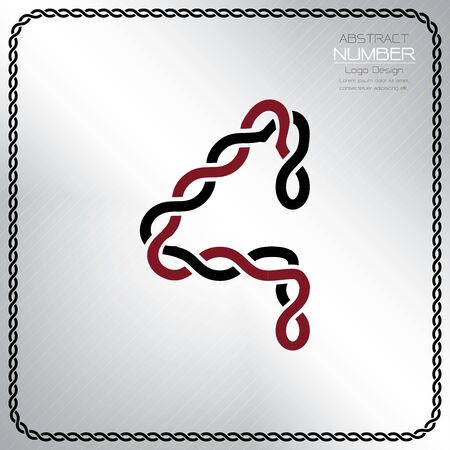 Modern number four template, design the rope to be a alphabet, Vector illustration Vettoriali