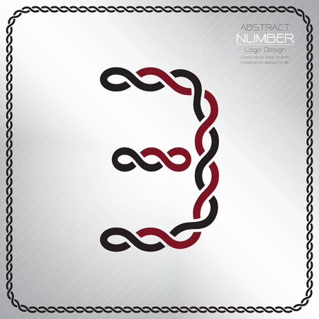 Modern number three template, design the rope to be a alphabet, Vector illustration