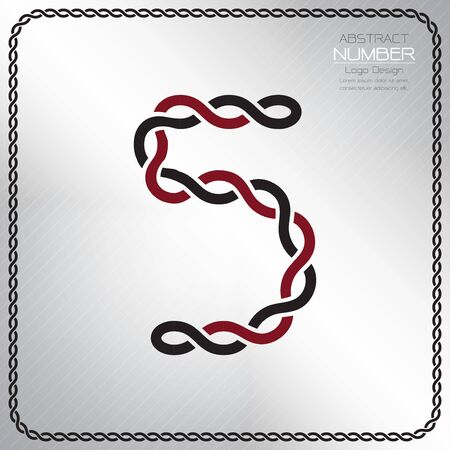 Modern number five template, design the rope to be a alphabet, Vector illustration Vettoriali
