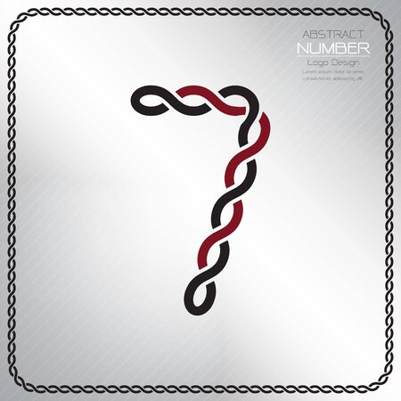 Modern number seven template, design the rope to be a alphabet, Vector illustration Vettoriali