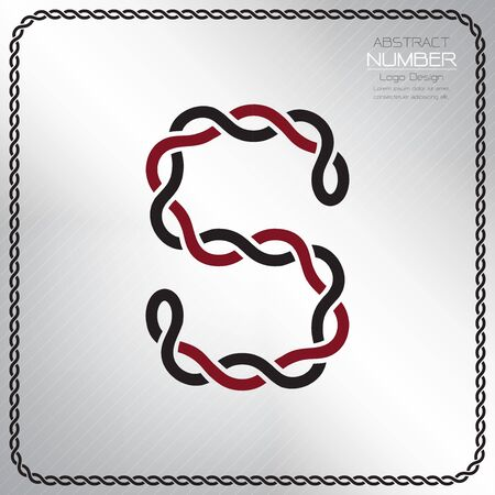 Modern number eight template, design the rope to be a alphabet, Vector illustration Vettoriali