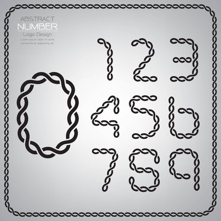 Modern set of number template, design the rope to be a alphabet, Vector illustration Vettoriali