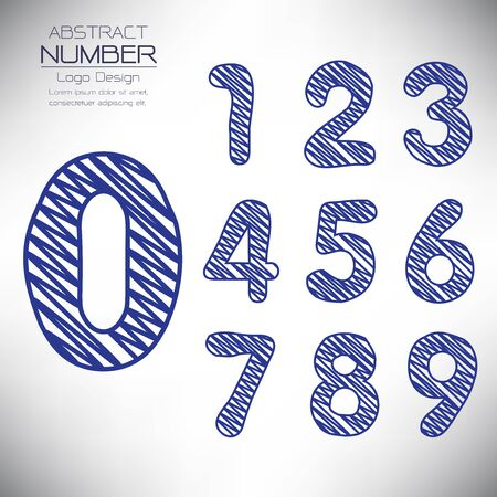 abstract set of number template, design the scribble handwriting, vector illustration