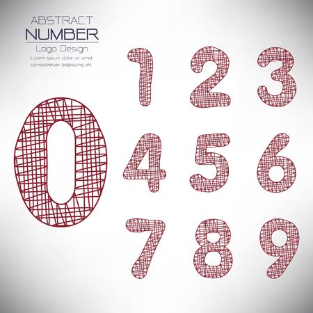 abstract set of number template, design the scribble, vector illustration Vettoriali
