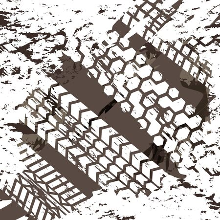 Tire marks on mud surfaces abstract background , brown tire marks vector illustration Vectores