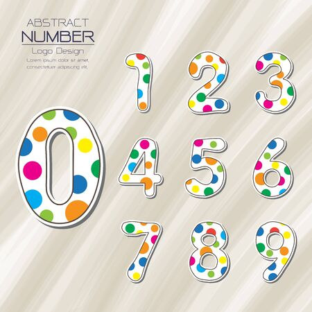 set of number template abstract design vector illustration