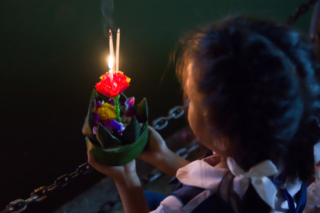 Praying: Loy Kratong festival in Thailand