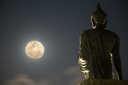 buddhist temple: Buddha Statue under moonlight