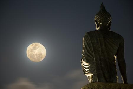 Buddha Statue under moonlight