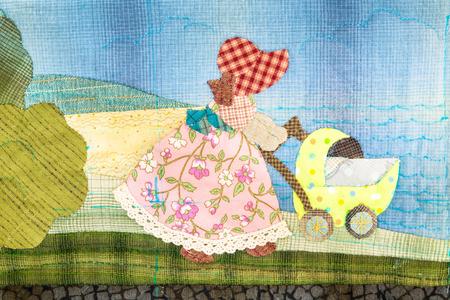 homespun: Quilt : Girl and stroller
