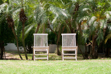 two chairs: Two chairs in garden