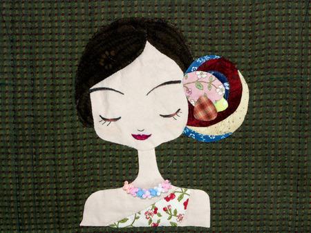 homespun: Quilt : Girl Stock Photo