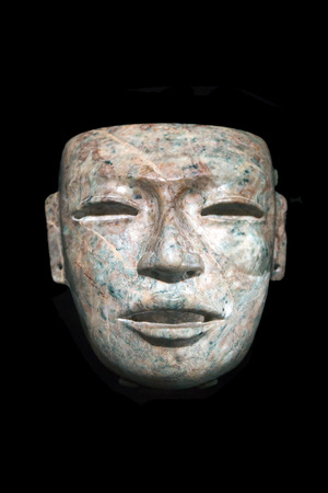 funerary: Funerary mask isolated on black background Stock Photo
