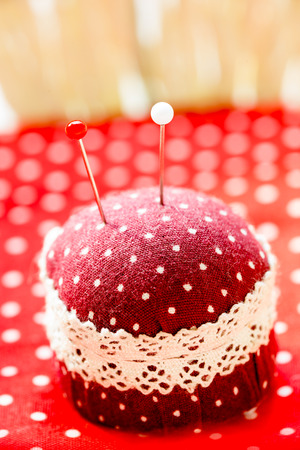 pin board: Pillow of needle and pins Stock Photo