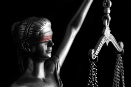 Bloody tear of Themis (Concept of Injustice) Stock Photo