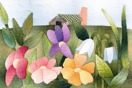 キルト: 花 写真素材