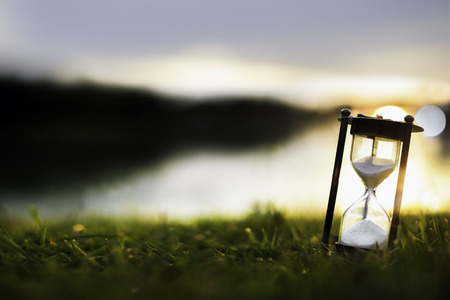 Hourglass at dawn time