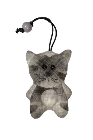 avocation: Quilt : Key cover cat (Grey) isolated on white background Stock Photo