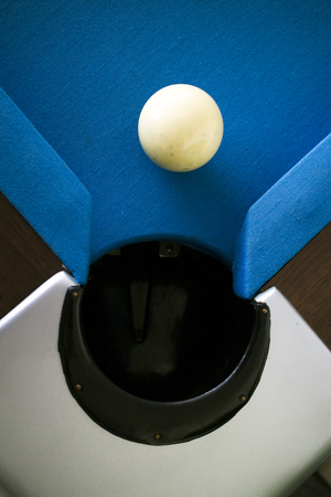 snooker table: White ball on snooker table Stock Photo