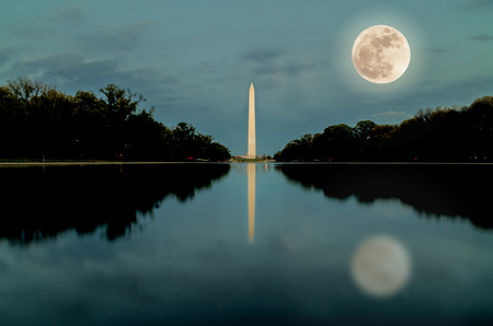 washington monument: Washington monument in super full moon night Stock Photo